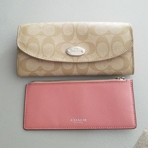 Coach pink and tan wallet